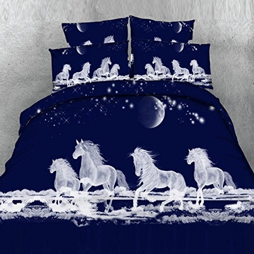 Alicemall Horse Bedding White Horses Digital Printing Dark Blue 4-Piece Duvet Cover Set, Twin/ Full/ Queen/ King Us Size (Twin, White)