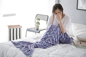 Kpblis Latest Handmade Soft Material Mermaid Tail Shape Blanket With Scales Pattern Mermaid Blanket For Adult Purple
