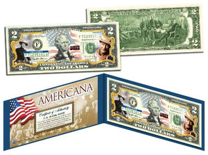 John Wayne *Americana* Genuine Legal Tender Colorized Licensed U.S. $2 Bill