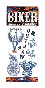 Tinsley Transfers Outlaws Biker Temporary Tattoo Fx Costume Kit