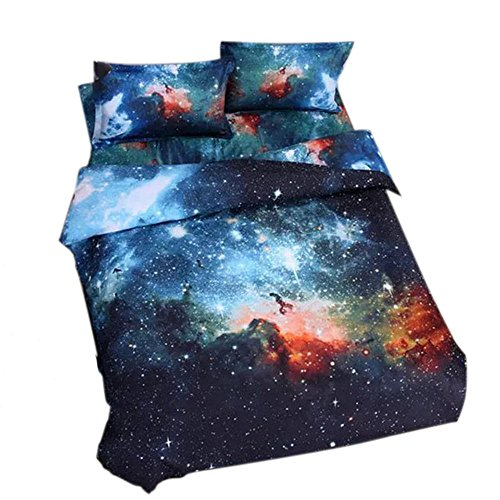 Alicemall King Size Galaxy Bedding Outer Space Home Textile Fabric Polyester 4-Piece Duvet Cover Sets, Blue Galaxy Bedding (King)