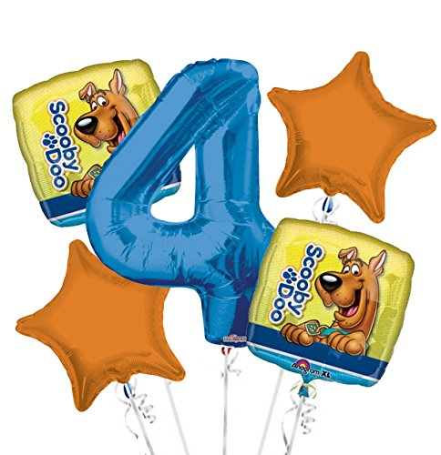 Scooby-Doo Balloon Bouquet 4Th Birthday 5 Pcs - Party Supplies