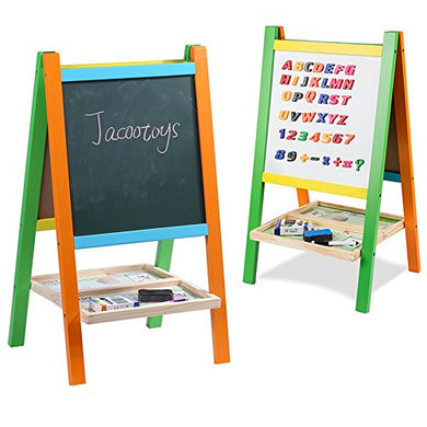 Jacootoys Standing Art Easel Two-Sided Board With Magnetic Alphabet And Numbers