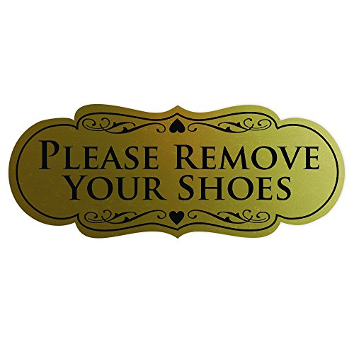 Designer Please Remove Your Shoes Thank You Sign - Brushed Gold Large