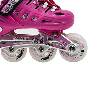 Kids Adjustable Inline Roller Blade Skates Long Feng Safe Durable Outdoor Featuring Illuminating Front Wheels Fuchsia Pink Small Sizes 905