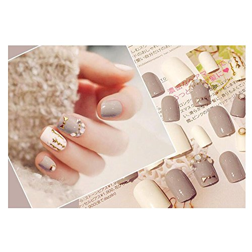 Dongcrystal 24Pcs 3D Bling Nail Art Jewelry Glitter Rhinestone Decor Gray Nail Tips Fake Nails