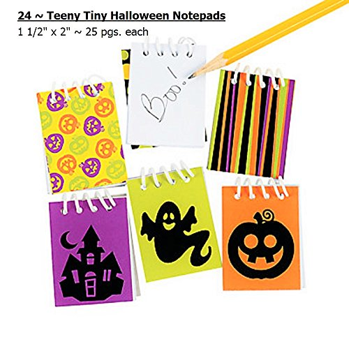 24 ~ Halloween Mini Notepads ~ 1 1/2 X 2 (Teeny Tiny) ~ New