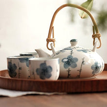 Load image into Gallery viewer, Xiduobao Fresh Flower White Porcelain Japanese Style Teapot Tea Set Porcelain Kungfu Tea Set Chinese Celadon Gongfu Tea Set Green Porcelain Tea Pot Ceramic Gongfu Teacup Home/Office/Travel Teaset.