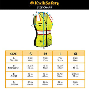 Kwiksafety (Charlotte, Nc) First Lady Safety Vest For Women | Class 2 Ansi Osha Ppe | High Visibility Heavy Duty Mesh Pockets Zipper | Hi-Vis Construction Work Hi-Vis Surveyor Female | Yellow Small