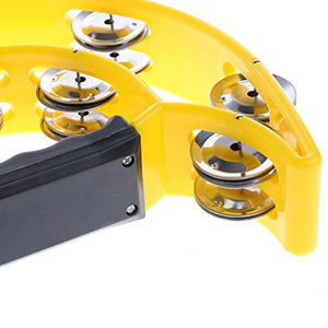 Ea-Stone Half Moon Double Row Tambourine,40 Metal Jingles Hand Held Percussion Drum For Gift Ktv Party Kids Toy With Ergonomic Handle Grip,Yellow