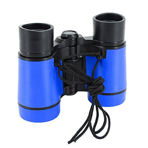 Multifit Kids Binocular Scope Toy Outdoor Adjustable 4X30 Rubber Viewing Zoom Binocular(Blue)
