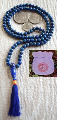 Lapis Lazuli Prayer Beads Japa Mala Necklace. Blessed Energized Genuine 108+1 Hindu Tibetan Buddhist Prayer Karma 6 Mm Beads Subha Rosary Mala For Nirvana Meditation Chanting Mantra - Us Seller