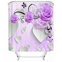 Load image into Gallery viewer, Alicemall 3D Flower Bathroom Shower Cutain Purple Peony White Heart 3D Bath Curtain Polyester Flower Bathroom Curtain Set, 12 Free Curtain Hooks (71W 71L--11536626)