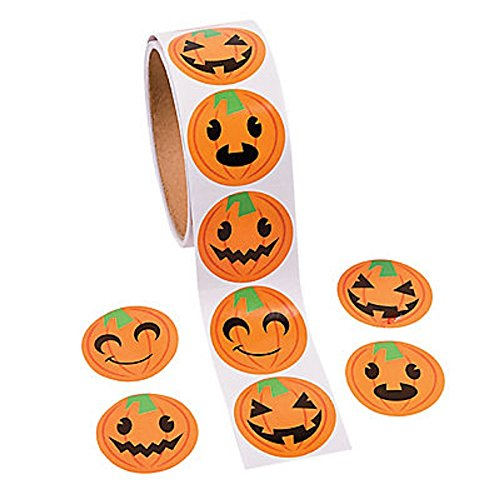 Jack-O-Lantern Pumpkin Face Halloween Roll Stickers ~ 100 Round 1.5 Paper Stickers ~ New / Shrink-Wrapped