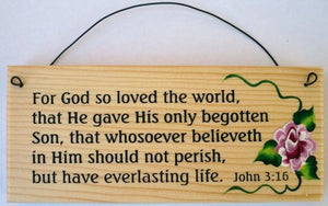 Bible Verse Sign... For God So Loved The World...John 3:16 Sign