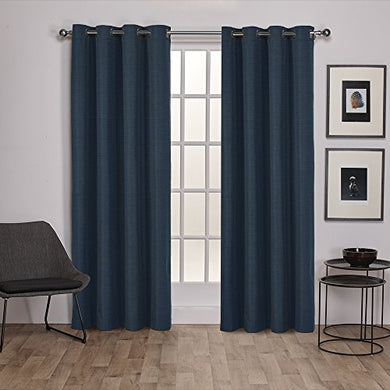 Exclusive Home Raw Silk Insulated Thermal Grommet Top Window Curtain Panels, 54 X 84, Mallard Blue, Set Of 2 / Pair