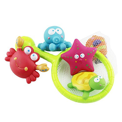 Sealive Baby Bath Water Toy For Fish, Puzzle Boxed Duck Toddler Soft Toys Bathtime Fishing Set With Turtles,Starfish, Octopus,Clownfish,For 3-48 Months Old Baby Using