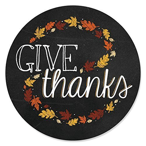 Give Thanks - Thanksgiving Party Circle Sticker Labels - 24 Count