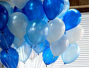 100 Pcs 12''White&Blue&Light Blue Thickened Lustrous Pearlized Latex Balloons For Party Decoration