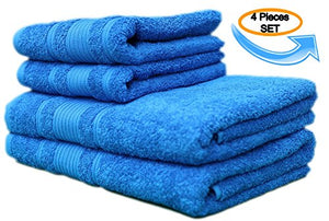 All Design'S Turkish Dobby Terry Border 4 Pieces Towel Set (2 Bath Towels And 2 Hand Towels) 100% Cotton, Blue Color