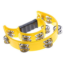 Load image into Gallery viewer, Ea-Stone Half Moon Double Row Tambourine,40 Metal Jingles Hand Held Percussion Drum For Gift Ktv Party Kids Toy With Ergonomic Handle Grip,Yellow