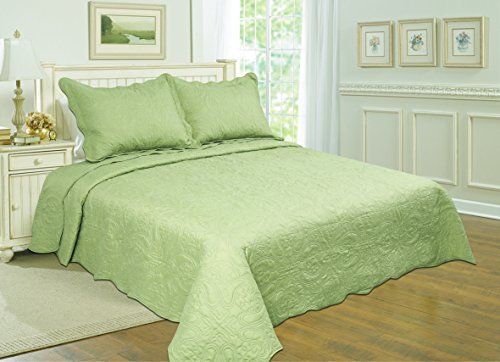 All For You 3-Piece Reversible Bedspread/ Coverlet / Quilt Set With Embroideries (Sage, Full/Queen)