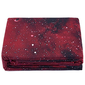 Alicemall Galaxy Bedding Queen Red Galaxy Fabric Polyester 4-Piece Bedroom Set, Duvet Cover, Flat Sheet And 2 Pillow Cases Outer Space Bedding Sets, No Comforter (Queen)