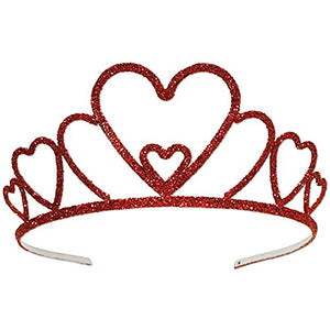 Glitter Princess Of Hearts Valentines Party Tiara Crown W/ Hair Combs