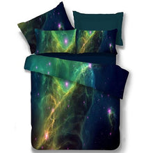 Load image into Gallery viewer, Alicemall Galaxy Bedding Set Full Size Green Polyester 4-Piece 3D Duvet Cover Sets, Outer Space 4 Pcs Bedding Sets, 2 Pillowcases, Duvet Cover, Flat Sheet (Full)