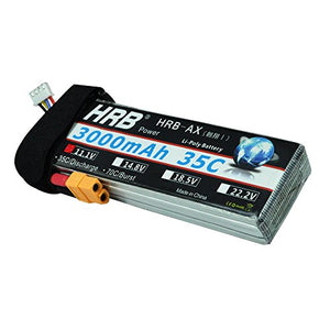 Hrb 3S 11.1V 3000Mah 35C Lipo Battery With Xt60 Connector For Rc Airplane Helicopter Boat Drone And Fpv