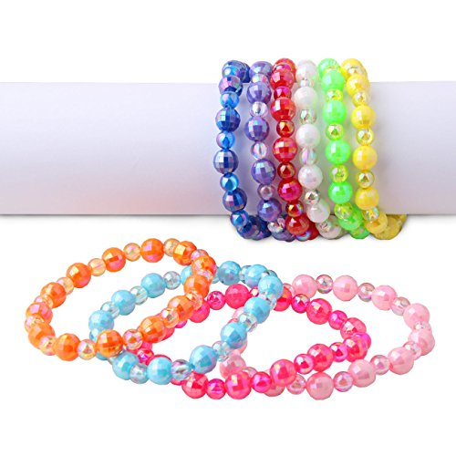 Plastic Iridescent Ab Colorful Bead Bracelets 10Pcs Per Pack Value Pack