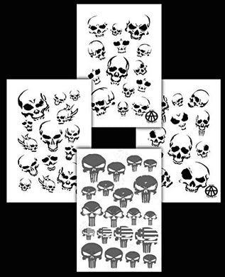 Acid Tactical 4Pk Camouflage Spray Paint Camo Gun Stencils Adhesive &Amp; Mylar Punisher &Amp; Skulls