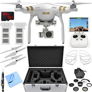 Dji Phantom 3 Pro Quadcopter Drone W/ 4K Camera Accessory Bundle Includes Drone, Flight Batteries, Propellers + Guards, Case, 37Mm Filter Kit, 64Gb Microsdxc Memory Card, Cleaning Pen And Cloth