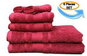 All Design'S Turkish Dobby Terry Border 6 Pieces Towel Set (2 Bath Towels, 2 Hand Towels, And 2 Wash Cloths) 100% Cotton, Burgundy Color