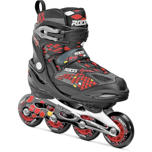 Roces Moody 4.0 Boys Adjustable Kids Inline Skates 2015 - 4-7/Black-Red-Yellow