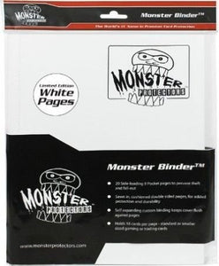 Monster Binder - 9 Pocket Trading Card Album - Holofoil White W White Pages - Holds 360 Yugioh, Magic, And Pokemon Cards
