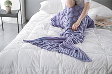 Load image into Gallery viewer, Kpblis Latest Handmade Soft Material Mermaid Tail Shape Blanket With Scales Pattern Mermaid Blanket For Adult Purple