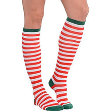 Load image into Gallery viewer, Fun-Filled Christmas And Holiday Party Candy Cane Stripe Knee Socks , Red/Green/White, Fabric , 23 3/4