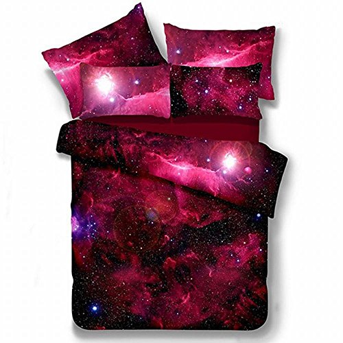 Alicemall Galaxy Bedding Full Red Galaxy Fabric Polyester 4-Piece Bed Set, Duvet Cover, Flat Sheet And 2 Pillow Cases Outer Space Bedding Sets, No Comforter (Full)