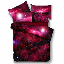 Load image into Gallery viewer, Alicemall Galaxy Bedding Twin Red Galaxy Fabric Polyester 4-Piece Bed Set, Duvet Cover, Flat Sheet And 2 Pillow Cases Outer Space Bedding Sets, No Comforter (Twin)