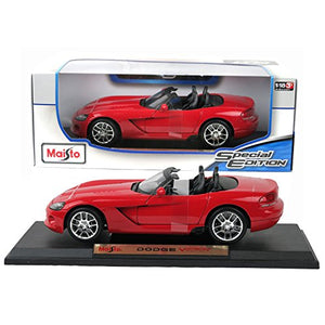 Maisto Year 2015 Special Edition Series 1:18 Scale Die Cast Car Set - Red Color Sports Coupe Dodge Viper Srt-10 With Display Base (Car Dimension: 9 X 4 X 2-1/2)
