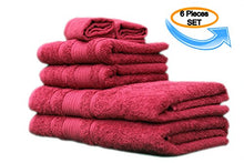 Load image into Gallery viewer, All Design'S Turkish Dobby Terry Border 6 Pieces Towel Set (2 Bath Towels, 2 Hand Towels, And 2 Wash Cloths) 100% Cotton, Burgundy Color