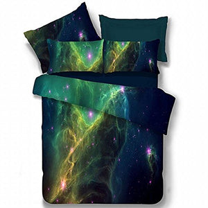 Alicemall Galaxy Bedding Set Full Size Green Polyester 4-Piece 3D Duvet Cover Sets, Outer Space 4 Pcs Bedding Sets, 2 Pillowcases, Duvet Cover, Flat Sheet (Full)
