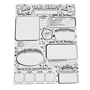 Color Your Own Spanish All About Me Posters