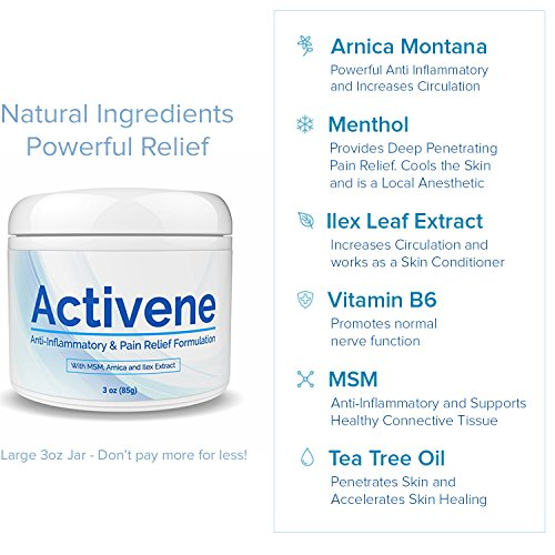 Activene Arnica Gel Cream - With Menthol And Msm | Pain Relief For Joint,  Tendon &Amp