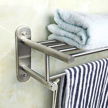 Load image into Gallery viewer, Alise Sus304 Stainless Steel Bathroom Lavatory Towel Rack/Rail Towel Shelf Hanger With Two Double Hooks Wall Mount Holder,Brushed Finish