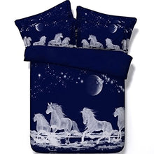 Load image into Gallery viewer, Alicemall Horse Bedding White Horses Digital Printing Dark Blue 4-Piece Duvet Cover Set, Twin/ Full/ Queen/ King Us Size (Twin, White)