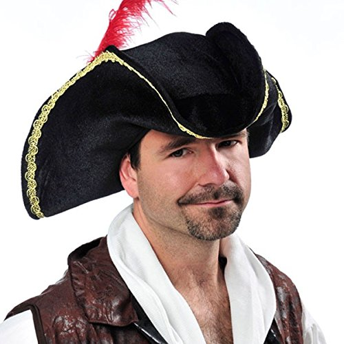 Notorious Pirate Party Buccaneer Hat Accessory, Black, Fabric
