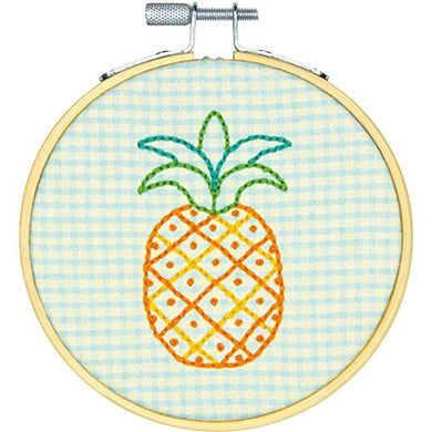 72-75076 Short N' Sweet Pineapple Mini Embroidery Kit-4  Stitched In Thread