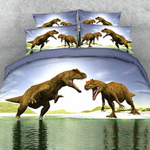 Load image into Gallery viewer, Alicemall 3D Dinosaur Bedding Powerful Dinosaur Battle Blue 5-Piece Comforter Sets Unique 3D Dinosaur Quilt Bedding For Kids And Adults, Queen Size (Queen, Blue)